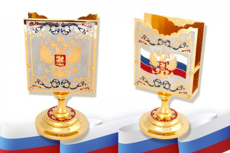 Настольная визитница с гербом Российской Федерации и гербом Москвы.