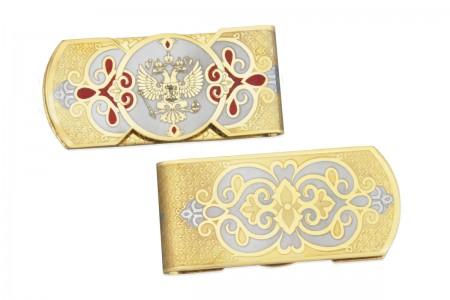 Зажим для денег с гербом РФ и Белоруссии