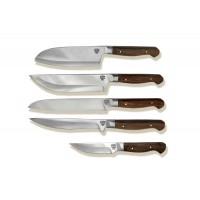 Набор из пяти златоустовских кухонных ножей.